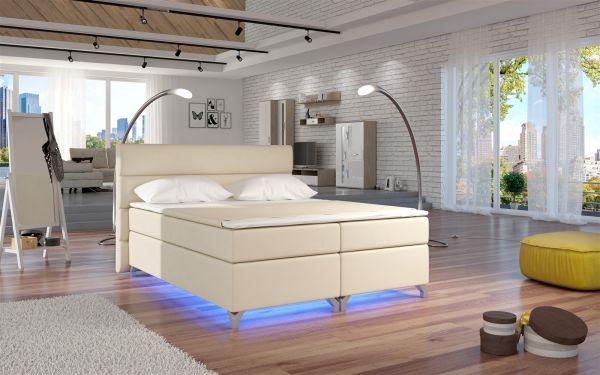 Boxspringbett Schlafzimmerbett NEAPEL Kunstleder Weiss 180x200cm