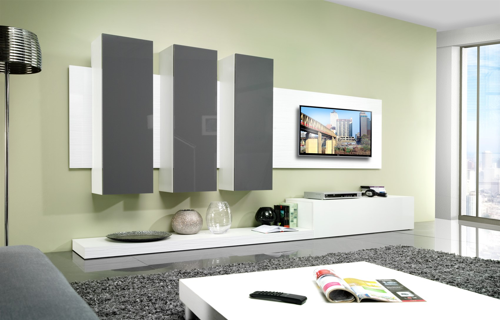 mediawand wohnwand city hochglanz weiss grau fun m bel. Black Bedroom Furniture Sets. Home Design Ideas
