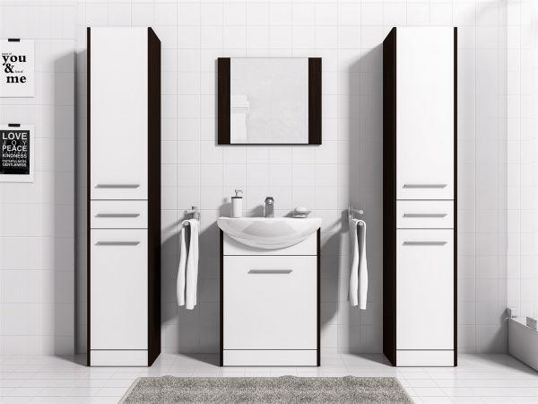 Badmöbel Set 5-Tlg Wenge / Weiss matt SEVILLA XL inkl.Waschtisch