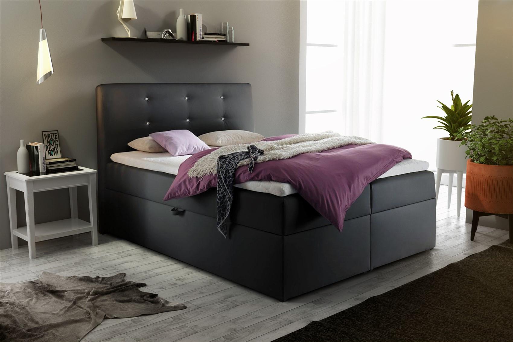 boxspringbett schlafzimmerbett monza kunstleder schwarz 100x200 cm fun m bel. Black Bedroom Furniture Sets. Home Design Ideas