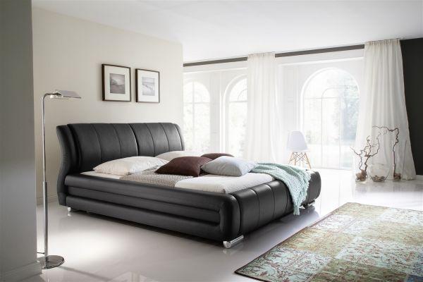 Polsterbett Bett Doppelbett Tagesbett - LIMA - 180x200 cm Schwarz