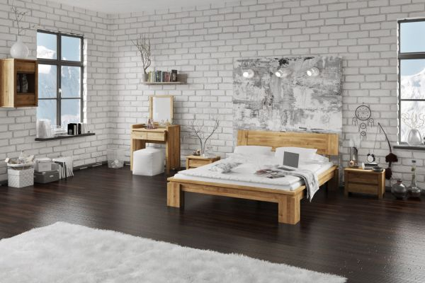 Massivholzbett Schlafzimmerbet Maison Xl Wildeiche Geölt 120x200 Cm