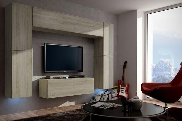 Mediawand Wohnwand 8 tlg - Konzept 3 -Sonoma Eiche matt