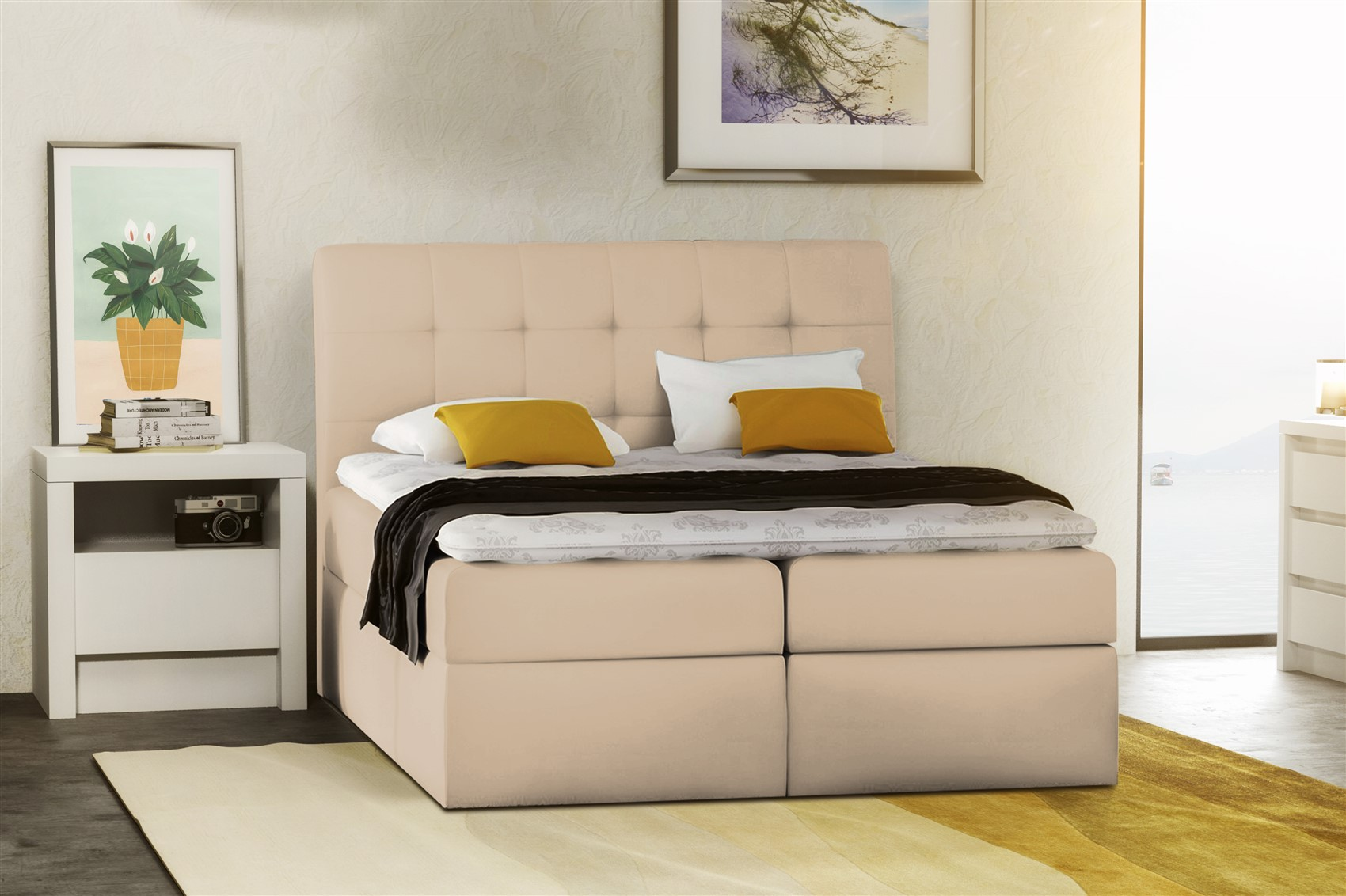 boxspringbett schlafzimmerbett turin kunstleder creme 120x200 cm fun m bel. Black Bedroom Furniture Sets. Home Design Ideas
