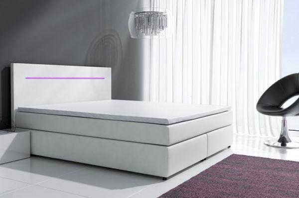 Boxspringbett Schlafzimmerbett BOLOGNA Weiss inkl.LED 160x200 cm