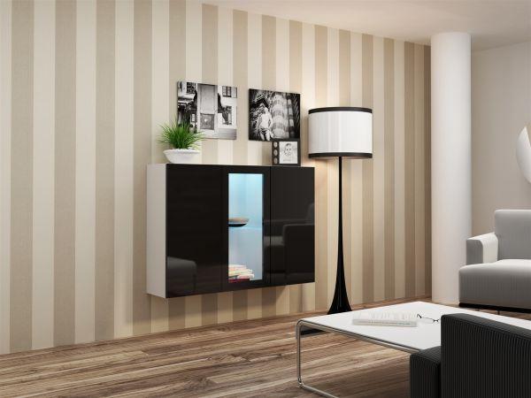 "Sideboard Hängesideboard ""LUGO"" 120x38x90 cm Weiss/Schwarz HGL mit LED"