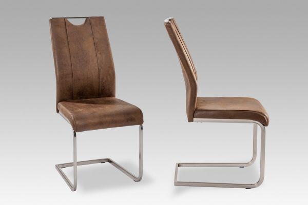 Esszimmerstühle Stühle Freischwinger 4er Set - MONACO - Dunkelbraun