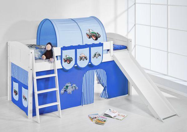 Spielbett mit Rutsche -LANDI/R -Trecker Blau -Kiefer Weiss-mit Vorhang