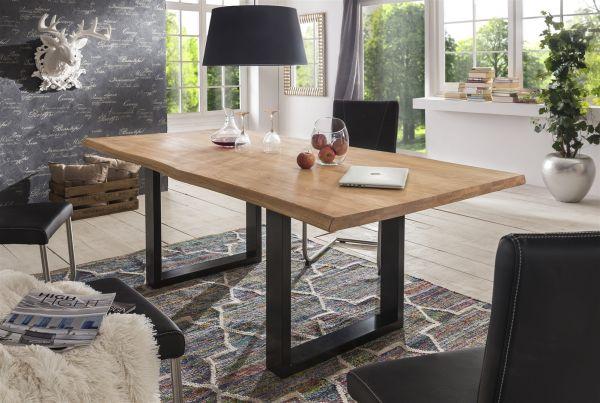 Esstisch Tisch KENAN Wildeiche massiv, 200x100cm Kufengestell