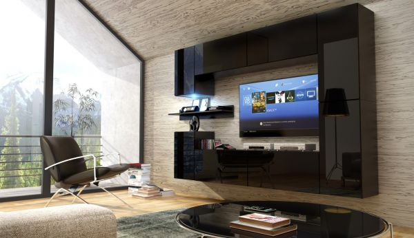 Mediawand Wohnwand 9 tlg - Konzept 13 -Schwarz HGL mit LED-Beleuchtung