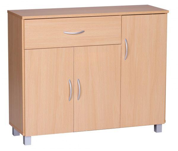 Kommode Sideboard - AMIRA - Buche 90 x 75 cm mit 3 Türen + 1 Schublade