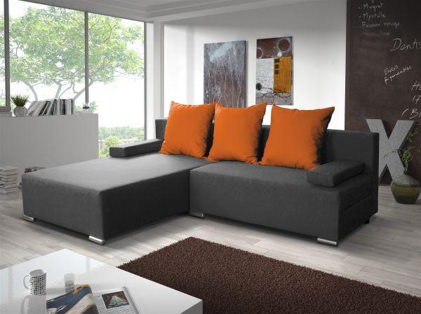 Ecksofa Sofa LUCY mit Schlaffunktion Grau / Orange Ottomane Links