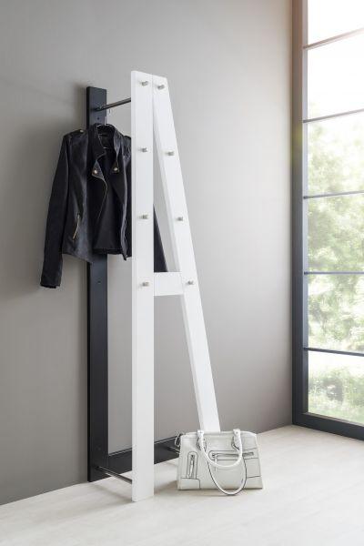 "Kompakt Garderobe ""AL"" 55x180x35 Dekor Weiss Schwarz"
