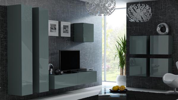 Mediawand Wohnwand 8 tlg - MyMix 3 - Grau Hochglanz