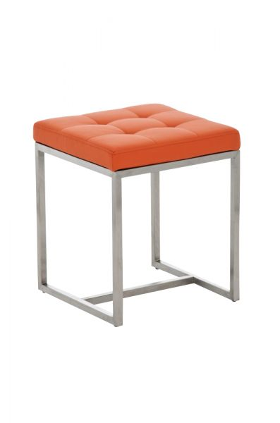 Sitzhocker - BRIT 2 - Hocker Sessel Kunstleder Orange 40x40cm