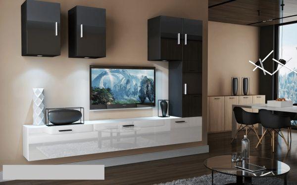 Mediawand Wohnwand 8 tlg - Bedox 4 - Weiss- Schwarz Hochglanz Nr.1+LED