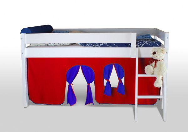 Vorhangset neues Design ROT-BLAU für Hochbet Spielbett Etagenbett