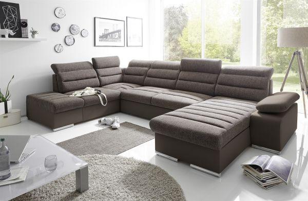 Couchgarnitur PASCARA U-Form mit Schlaffunktion-Braun /Ottomane Rechts