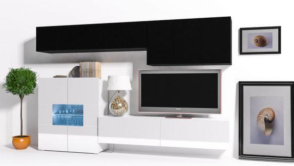 Mediawand Wohnwand 8 tlg - Konzept 16 - Weiss / Schwarz Hochglanz