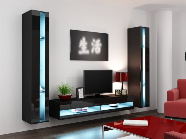 Mediawand Wohnwand 3 tlg - SENTIC 3 - Schwarz Hochglanz inkl. LED