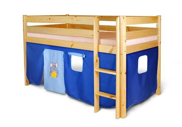 Vorhangset - MAUS -blau-hellblau für Hochbet Spielbett Etagenbett