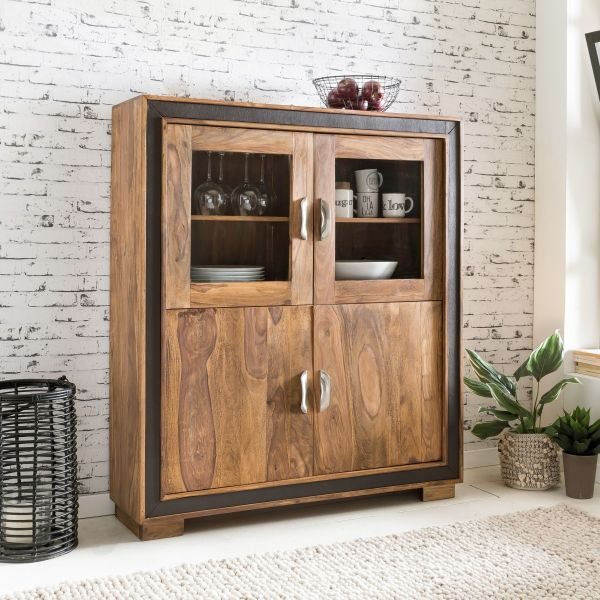 Highboard Kommode Saloni Sheesham Massiv 120x35x140 Cm Landhausstil
