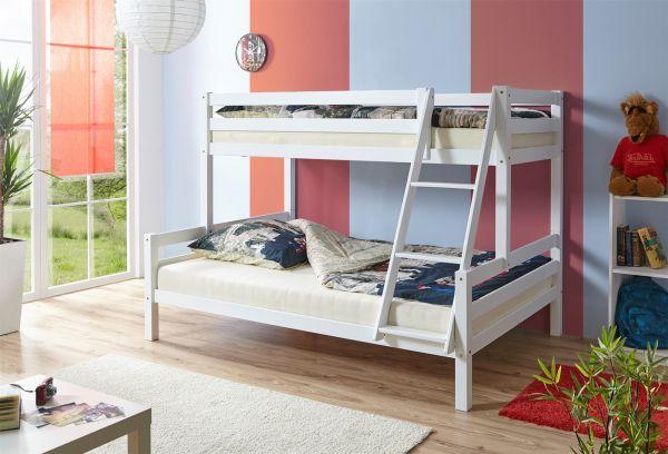 Etagenbett Für Zwei : Etagenbett hochbett kevin massiv kiefer weiss teilbar in