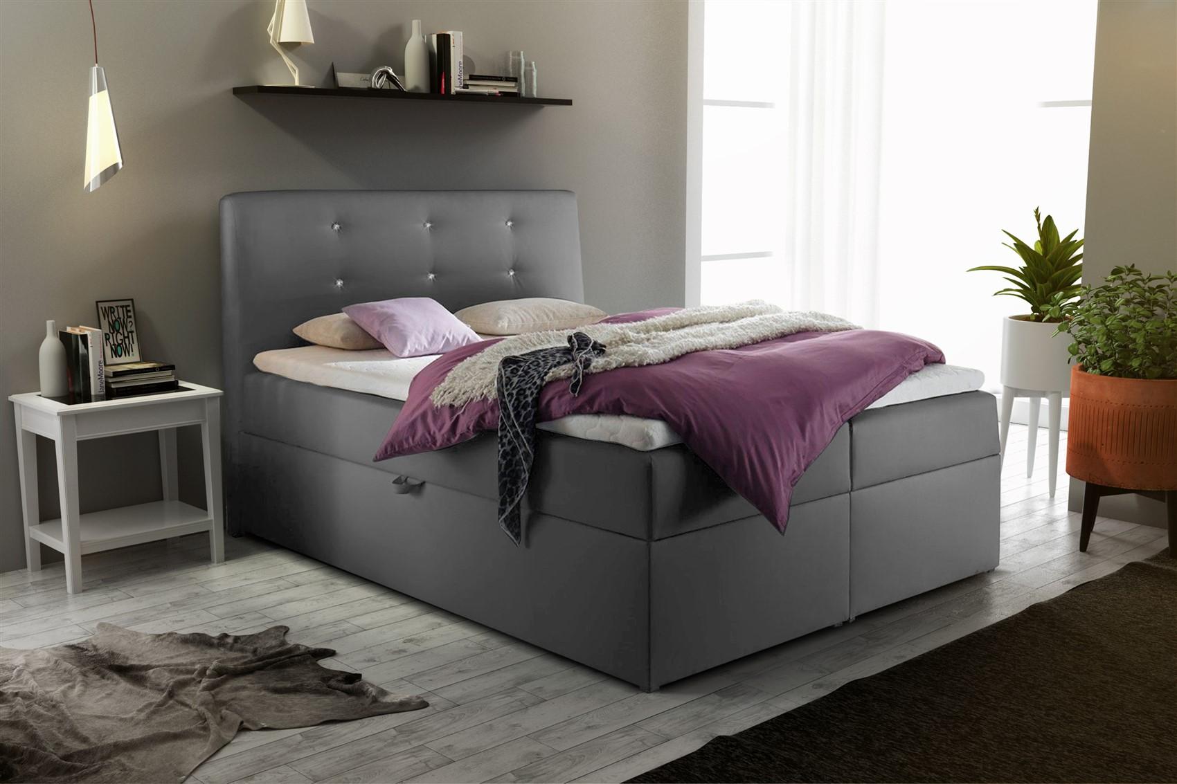 boxspringbett schlafzimmerbett monza kunstleder grau 120x200 cm fun m bel. Black Bedroom Furniture Sets. Home Design Ideas