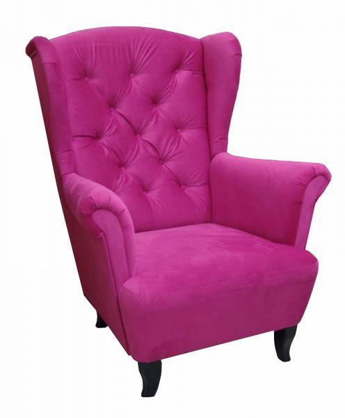 Sessel Ohrensessel Wohnzimmersessel - Orlando - Webstoff Pink