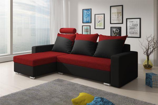 Ecksofa Sofa NORA mit Schlaffunktion Schwarz / Rot Ottomane Links