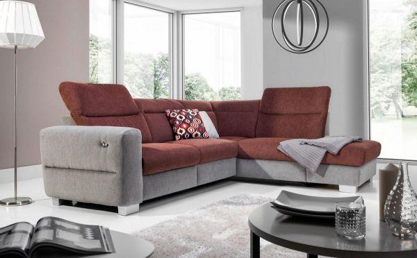 Ecksofa Sofa RELAX Polyesterstoff Grau/ Braun Ottomane Rechts