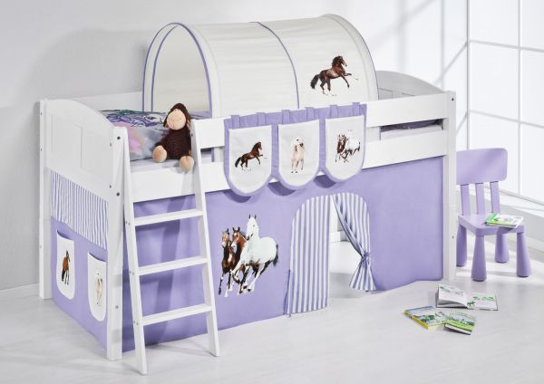Spielbett Bett -LANDI - Pferde Lila -Teilbar- Kiefer Weiss-mit Vorhang
