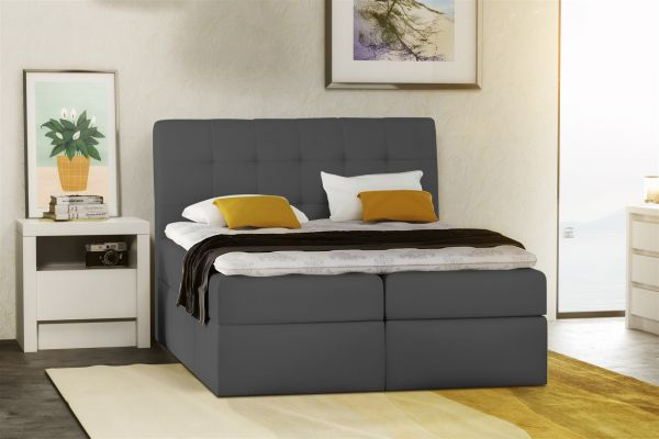 boxspringbett schlafzimmerbett turin kunstleder anthrazit 140x200 cm fun m bel. Black Bedroom Furniture Sets. Home Design Ideas