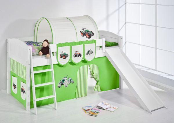 Spielbett mit Rutsche -LANDI/R -Trecker Grün -Kiefer Weiss-mit Vorhang