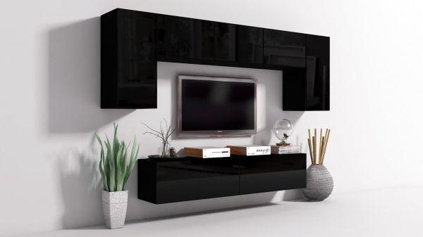 Mediawand Wohnwand 7 tlg - Konzept 9 - Schwarz Hochglanz