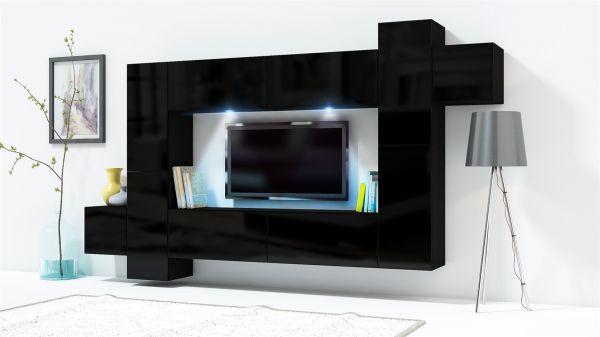 Mediawand Wohnwand 10 tlg KONZEPT 33 Schwarz HGL mit LED-Beleuchtung