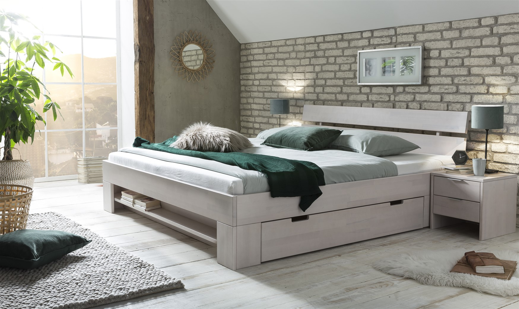 Holzbett Bett Doppelbett weiß Set Nachttisch Bettkasten Matratze Kiefer lackiert