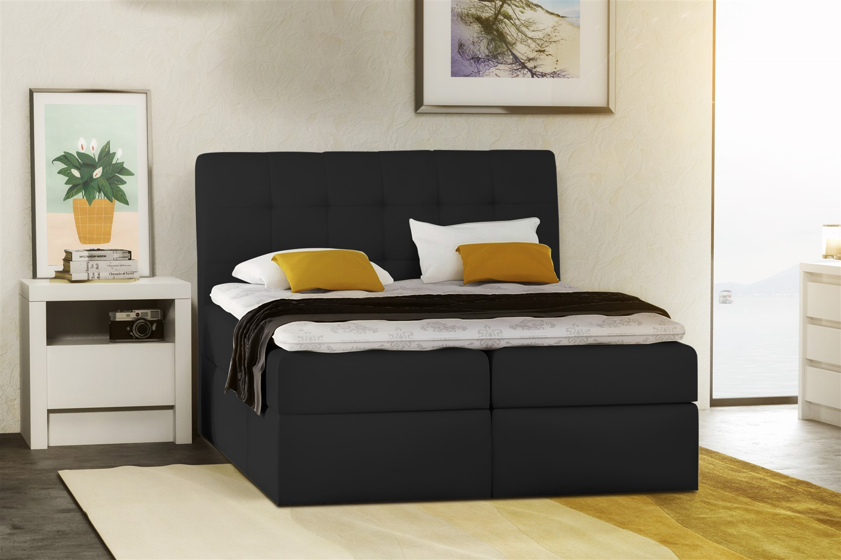 boxspringbett schlafzimmerbett turin kunstleder schwarz 140x200 cm fun m bel. Black Bedroom Furniture Sets. Home Design Ideas