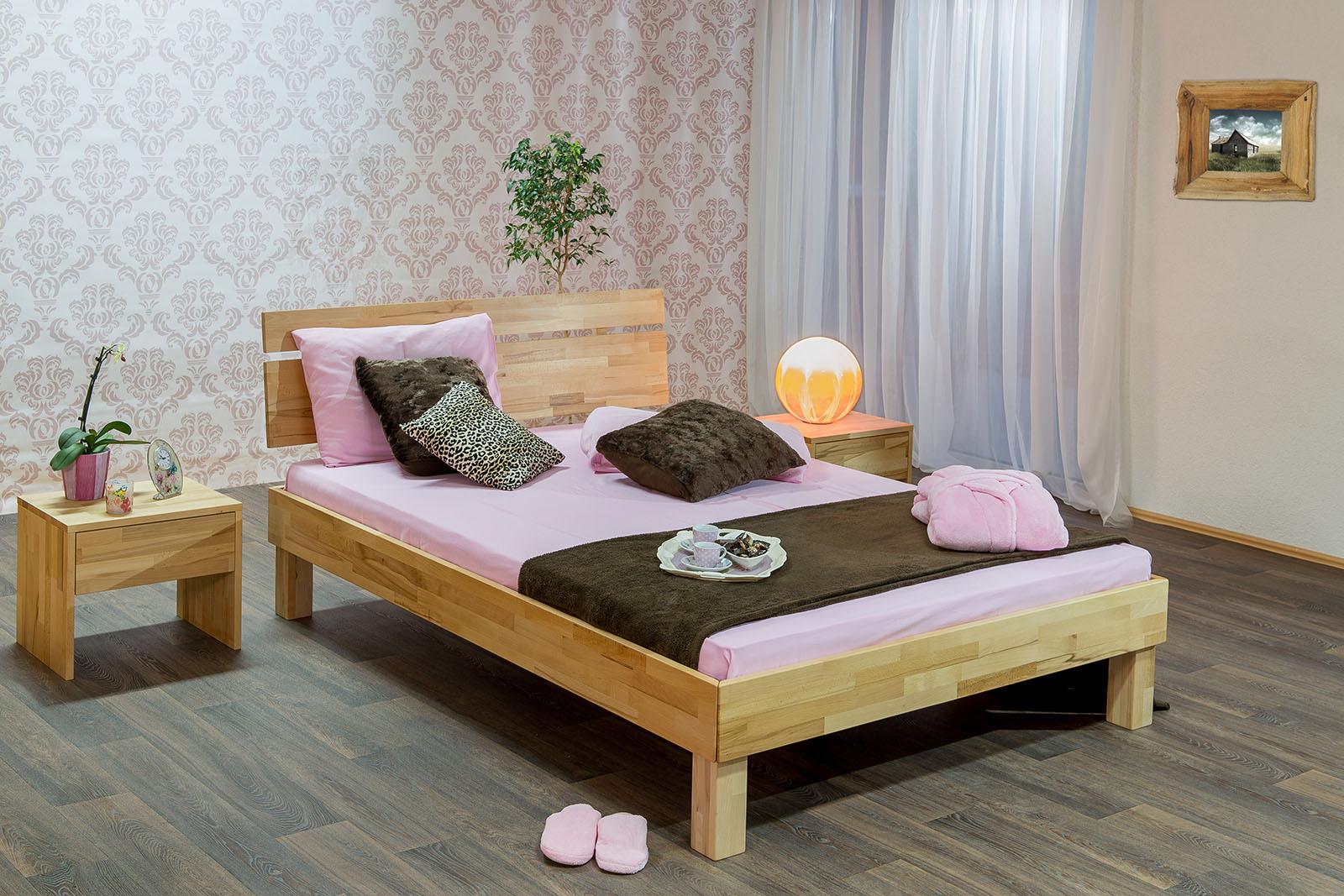 Massivholzbett Schlafzimmerbett SORIN Bett Kernbuche 140x200