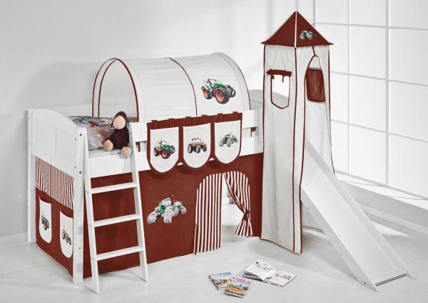 Spielbett mit Rutsche,Turm, Vorhang -LANDI/S -Trecker Braun-Kiefer Weiss