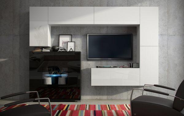 Mediawand Wohnwand 7 tlg - Konzept 8 - Weiss HGL mit LED-Beleuchtung