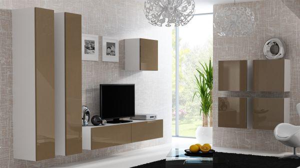 Mediawand Wohnwand 8 tlg - MyMix 3 - Weiss / Latte Hochglanz