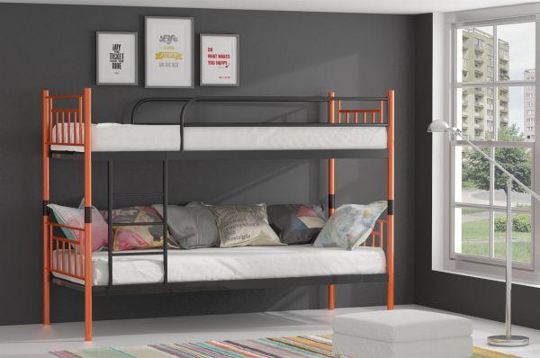 Metallbett Etagenbett : Metallbett darvin orange schwarz hochbett in zwei einzelbetten