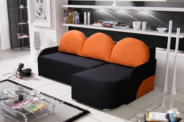 Ecksofa Sofa CANDY mit Schlaffunktion Ottomane Rechts Schwarz/ Orange