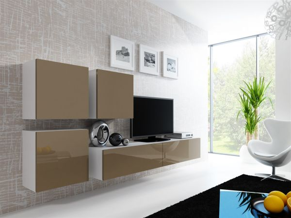 Mediawand Wohnwand 4 tlg - MyMix 2 - Weiss / Latte Hochglanz