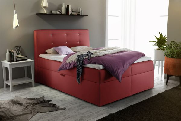 boxspringbett schlafzimmerbett monza kunstleder rot 120x200 cm fun m bel. Black Bedroom Furniture Sets. Home Design Ideas
