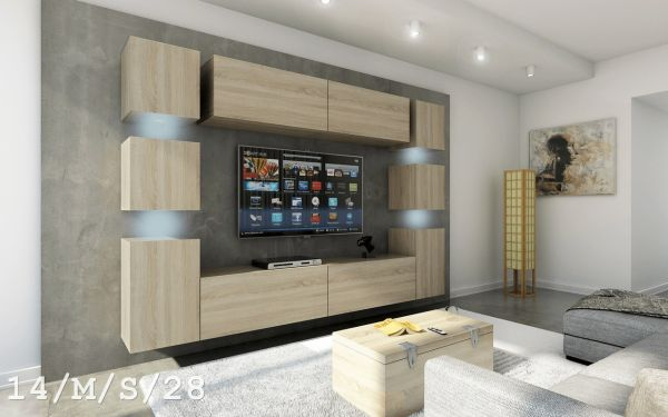 Mediawand Wohnwand 10 tlg - Konzept 40 - Sonoma Eiche matt