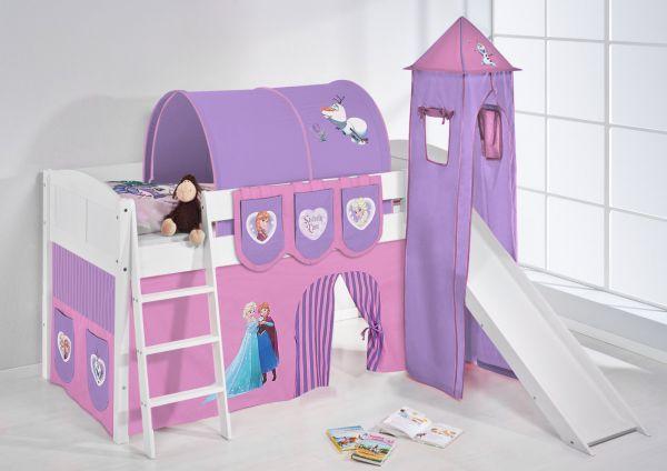 Spielbett mit Rutsche,Turm, Vorhang -LANDI/S - Frozen 1 - Kiefer Weiss
