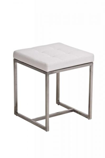 Sitzhocker - BRIT 2 - Hocker Sessel Kunstleder Weiss 40x40cm