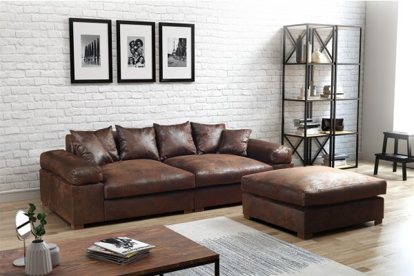 big sofa megasofa riesensofa arezzo vintage braun inkl. Black Bedroom Furniture Sets. Home Design Ideas